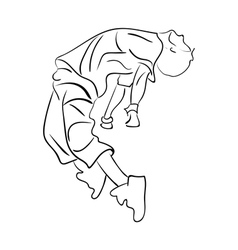 Hip-hop man dancer contour sketch vector