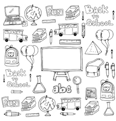 Hand draw classroom supplies doodles vector