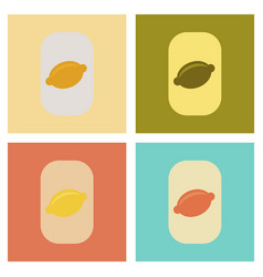 Assembly flat icons poker lemon symbol vector