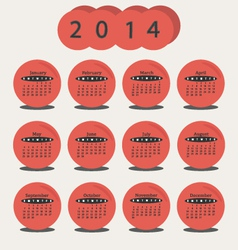 Calendar 2014 Red Circle vector image vector image