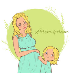 Card with beautiful blond pregnant woman with a vector