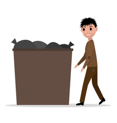 Cartoon hobo beggar jobless man dumpster vector
