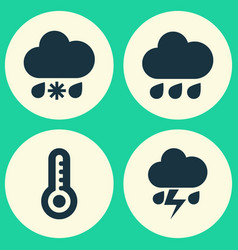Climate icons set collection of wet rainy flash vector