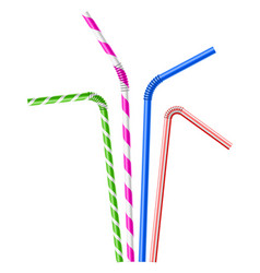 colorful drinking straws set vector image vector image