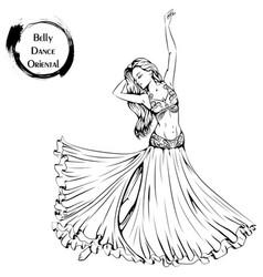 Dance line belly dance vector