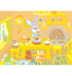 Easter bunny cooks a holiday cake vector image