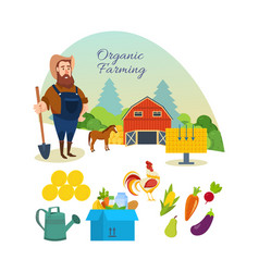farmer organic natural food agriculture vector image