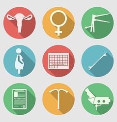 Flat icons for obstetrics and gynecology vector