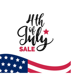 Fourth of july sale hand lettering vector