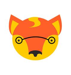 Fox face cute she-fox head element for kids design vector
