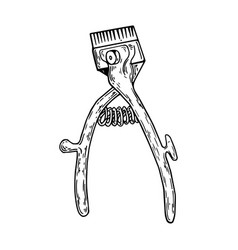 hand hair clipper engraving vector image