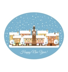 Happy new year winter town vector