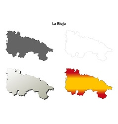 La rioja blank outline map set vector