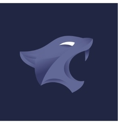 Lioness head with fangs sign in trend style purple vector