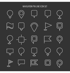 Map and navigation pin line icons vector image