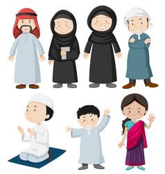 Muslim people in traditional costume vector