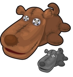 Obsolete soft toy brown dog with rough stitches vector