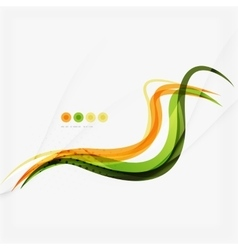 Orange and green wave line design nature eco vector image