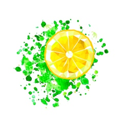 origami lemon slice with watercolor splash vector image