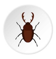 rhinoceros beetle icon circle vector image vector image