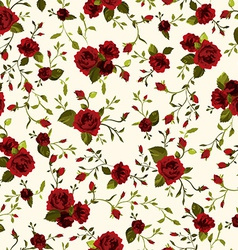 seamless floral pattern with red roses on light vector image vector image