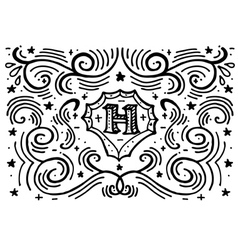 Simple hand drawn monogram design template vector