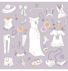 Stylish hand drawn set of women fashion items vector