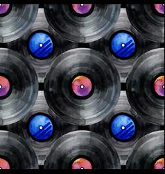 watercolor vinyl records pattern vector image