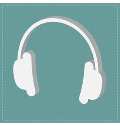 White headphones icon isometric effect dash line vector
