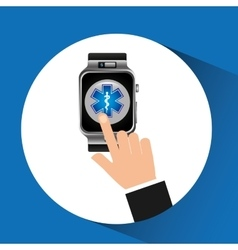 Smart watch emergency wearable healthy vector