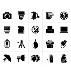 Black camera equipment and photography icons vector