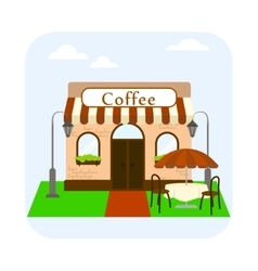 Coffee shop building facade with table and chairs vector