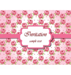Invitation card with pink roses vector