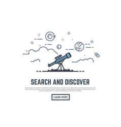 Telescope searching banner vector