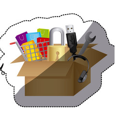 Sticker color silhouette with box obsolete objects vector