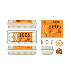 Set of template labels for egg packaging vector