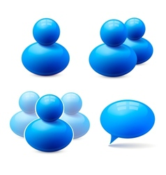 Icons of people groups and speech bubble vector