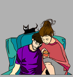 Couple with cat vector