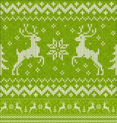 Green christmas knit with deers seamless pattern vector