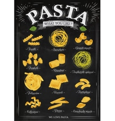Poster pasta chalk vector