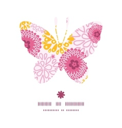 Pink field flowers butterfly silhouette pattern vector