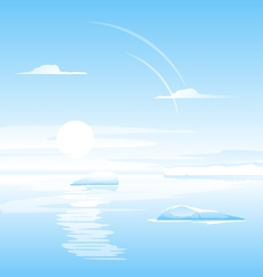 Sea with small icebergs landscape vector