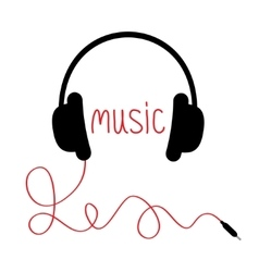 Black headphones with cord and red word music vector