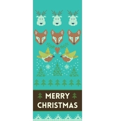 Merry christmas banner with deers and foxes in vector