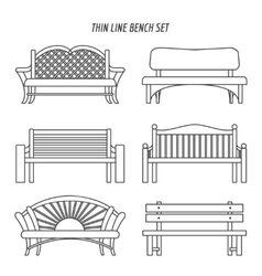 Thin line bench set vector