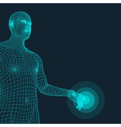 Man Pointing his Finger 3D Model of Man vector image