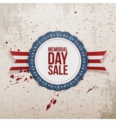 Memorial day sale textile emblem and ribbon vector