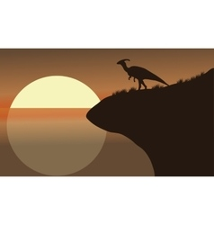 At afternoon silhouette of parasaurolophus vector