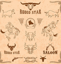 Bulls and rodeo icons collection vector
