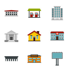City elements icons set flat style vector